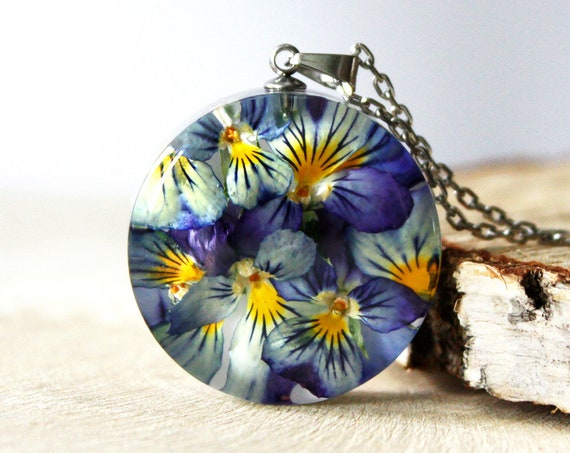 Botanical necklace with Real dried Viola flowers and petals. Resin Pansy flower Pendant.