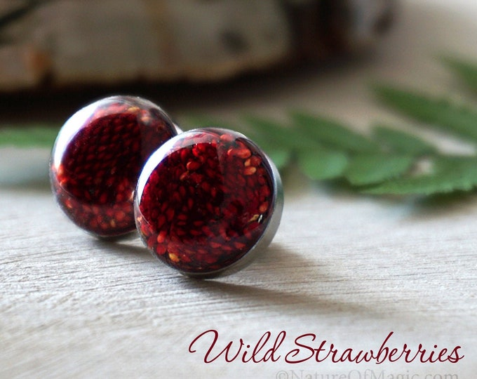 Real Wild Strawberry Studs. Stainless steel resin earrings made with real dried wild strawberries. Real plant earrings