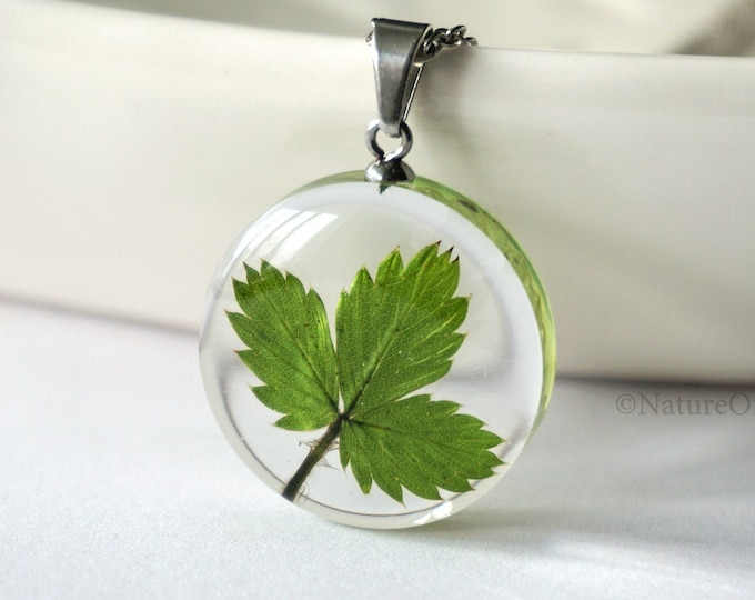 Small Botanical Necklace with Real Wild Strawberry leaf. Real dried plant Resin Pendant.