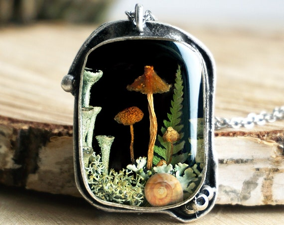 Forest pendant with real mushrooms, fern, lichens & a tiny snail shell.