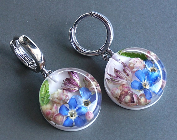 Small Botanical earrings with Real Blue Forget me not, ozothamnus and astrantia flowers.