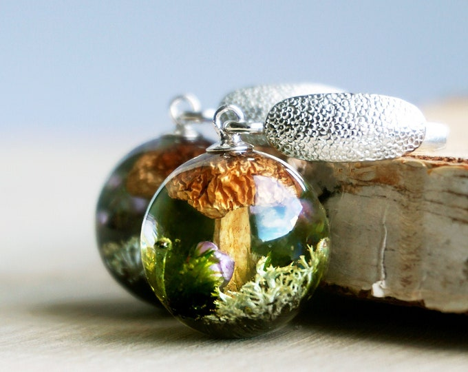 Botanical earrings with Real Mushrooms, Wild Strawberries, Lichen and Moss. Sterling silver Resin Sphere Latch back Earrings.