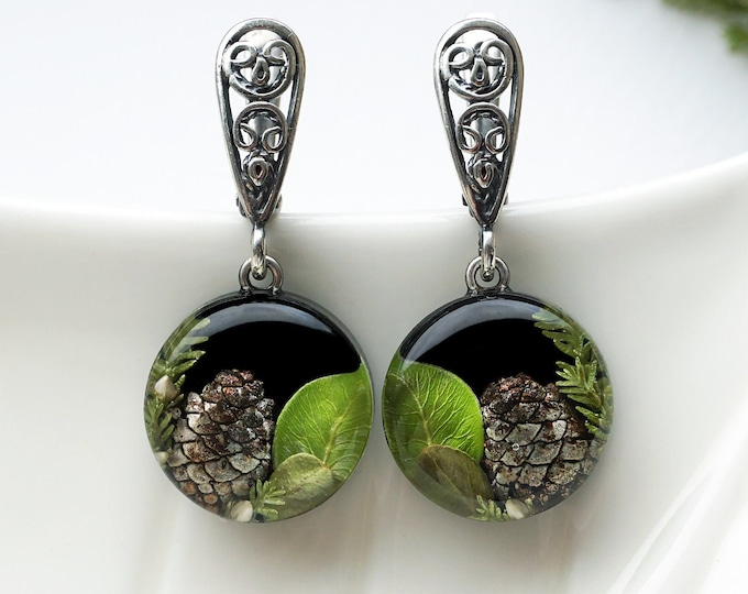 Small botanical Earrings with Real Cones, branches of Heather, Green leaves. Black Resin Sterling Silver Earrings Christmas gift.