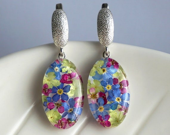 Nature earrings with Alyssum, Viburnum and Forget me not flowers. Sterling Silver Resin Earrings with Real dried flowers.
