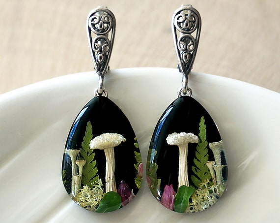 Botanical silver earrings with Mushrooms, Fern, Moss, Heather and leaves.