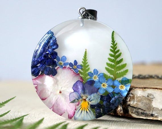 Botanical necklace with Real Fern, Viola, Muscari, Hydrangea and Forget me not flowers.