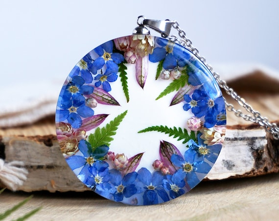 Botanical Necklace with Real Blue Forget me not flowers, ozothamnus and Fern.