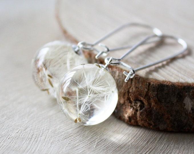 Dandelion Seed Earrings. Resin Sphere Botanical Earrings. Real flower earrings. Symbolic jewelry