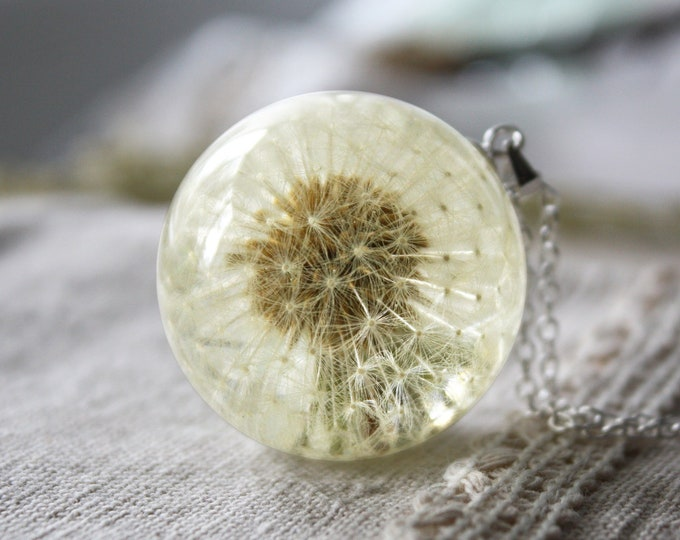 Real Full Dandelion Seed Head Necklace. Resin Sphere Botanical Pendant 30 mm. Real flower necklace. Symbolic jewelry