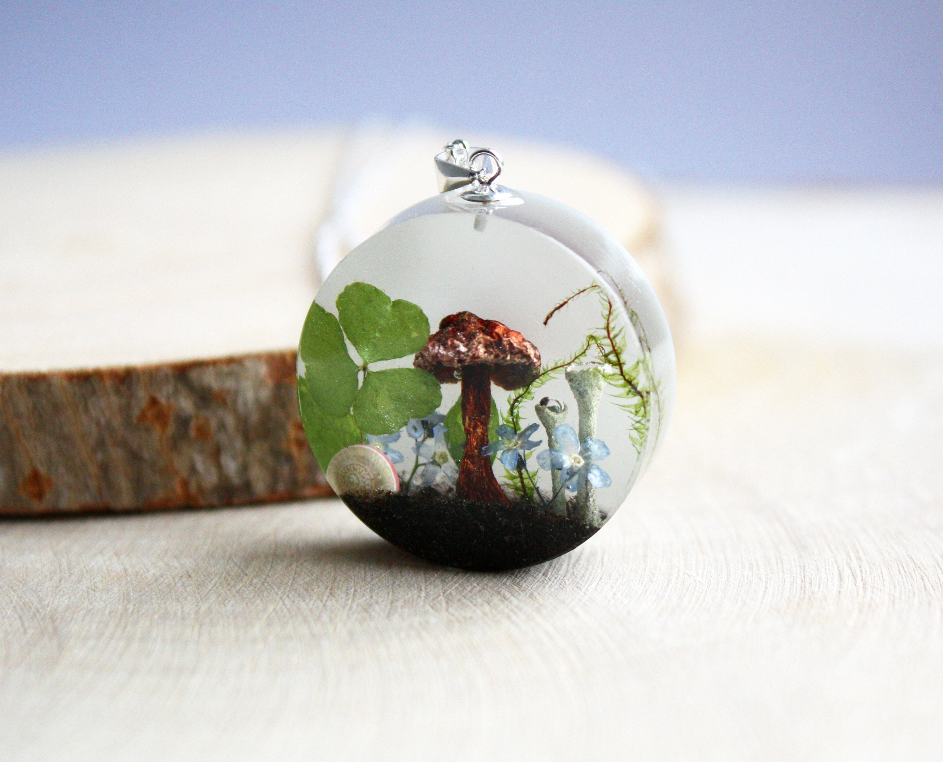 Mushroom Snail Shell Moss Forget Me Not Clover Terrarium Necklace Resin Medallion Pendant 925 Sterling Silver Valentine Gift For Her
