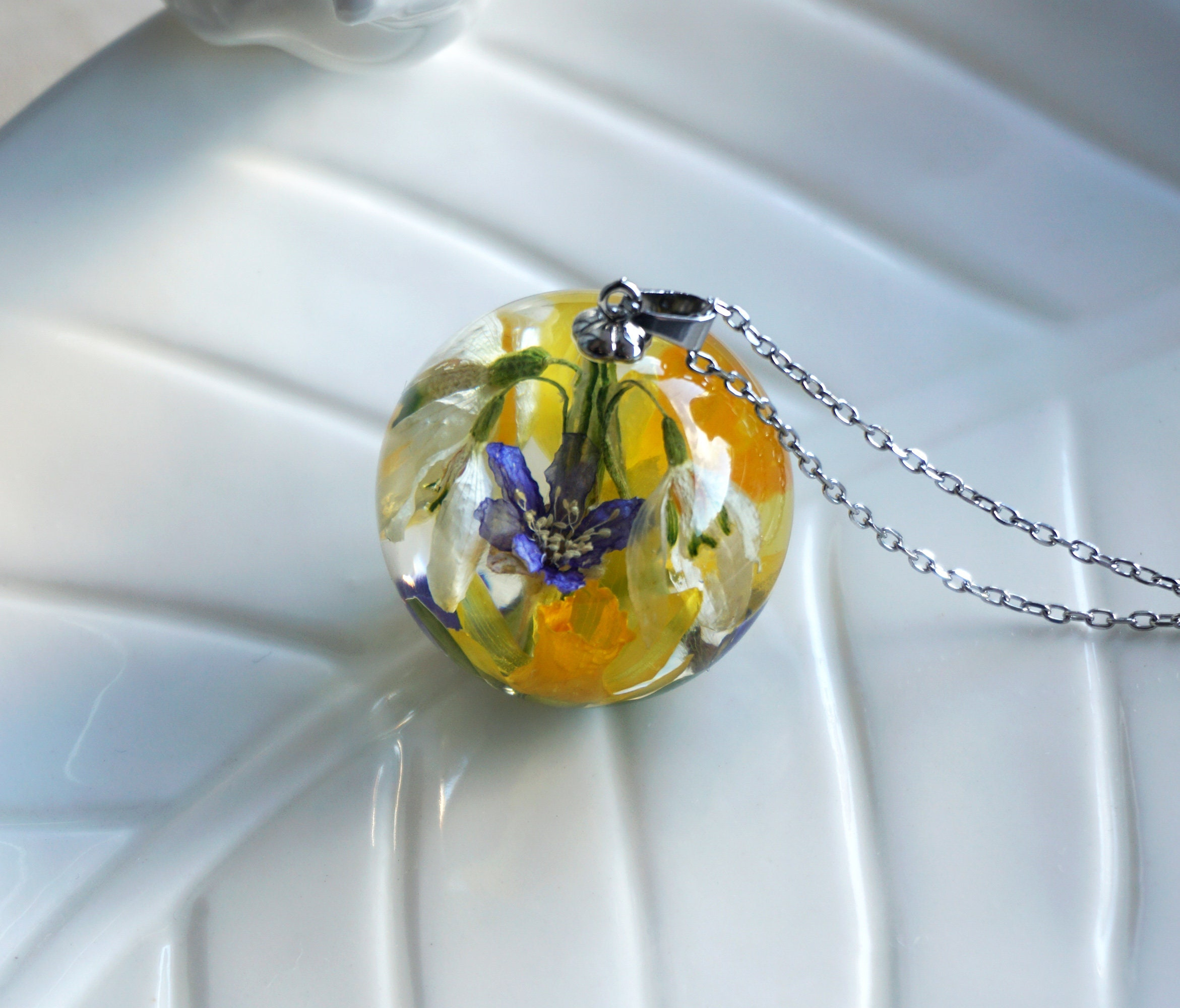 ecofriendly yellow pressed flower pendant Daffodil resin necklace 30 off shipping botanical jewelry