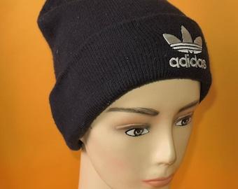 08ea22816f6 Adidas Beanie Ski Hat Two Sides Vintage 90s Signature Logo Trefoil Solid  Navy Blue Acrylic Snow Cap
