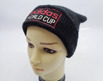 ce11fd5c344044 Adidas World Cup Beanie Ski Hat Vintage 90's Signature Spell Out Trefoil  Solid Black Acrylic Snow Cap Taiwan R.O.C.. InPersona