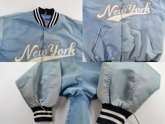 New York Baseball Jacket Distressed Vintage New Y… - image 9