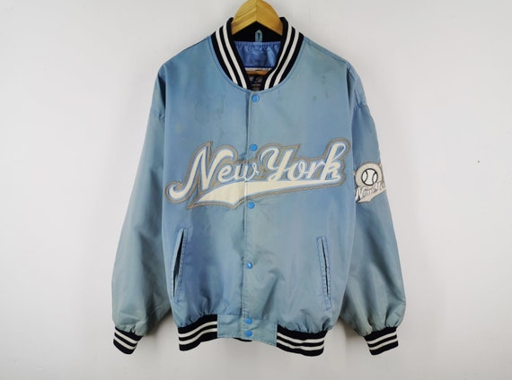 New York Baseball Jacket Distressed Vintage New Y… - image 2