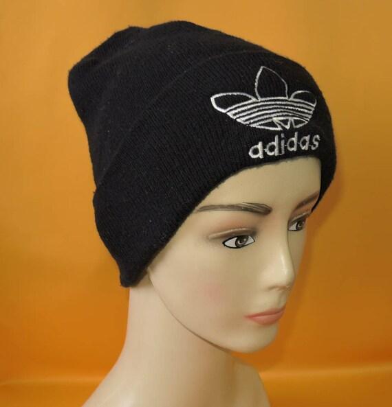 Adidas Beanie Ski Hat Vintage 90s Signature Logo Trefoil Solid  e9aa63dd270