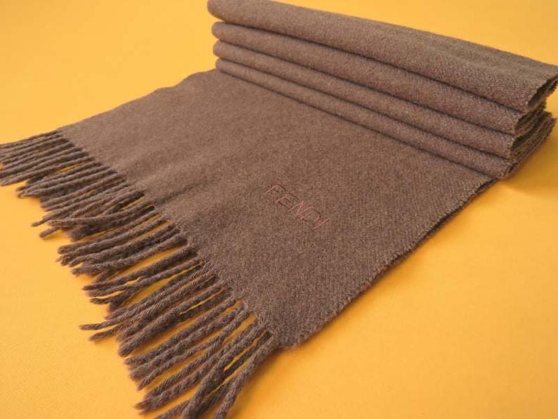 74dff91281e3 Fendi Scarf Cravatte Wool Solid Pattern Brown Vintage Designer