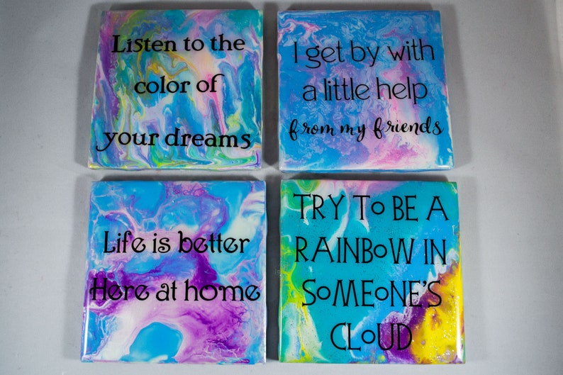 Coasters, Fluid Art with Quotes, Set of four, Gift set, Heavyweight Ceramic  Tiles, Resin Covered, Handmade, acrylic pour painting