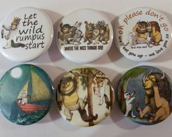 Where the Wild Things Are Badge Button Pin Set of 6