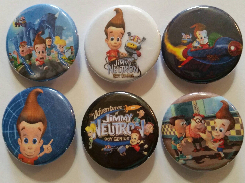 Jimmy Neutron Boy Genius Badge Button Pin Set of 6   Etsy