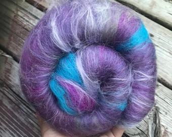 Merino wool, viscose and firestar fibre - Ready to spin - Art batt for spinning- 2 ounces
