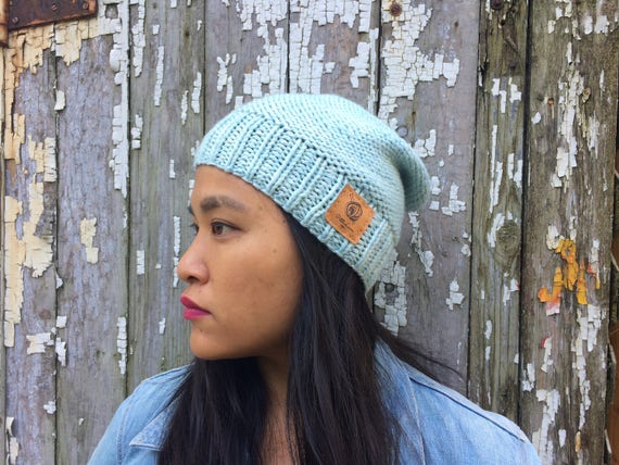 17680149a16 Slouchy merino wool beanie Icy blue Long brim knitted hat