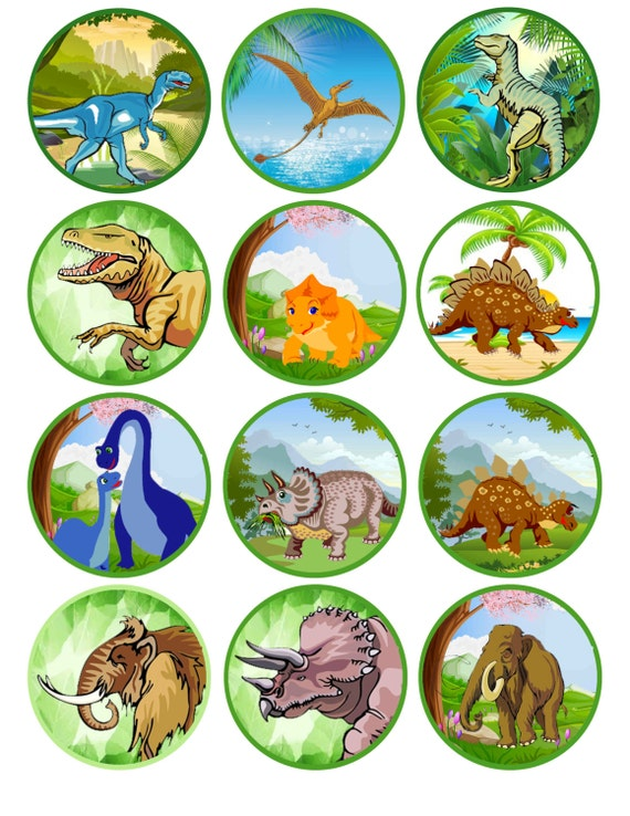 Dinosaur Printable Cupcake Toppers Instant Download Party