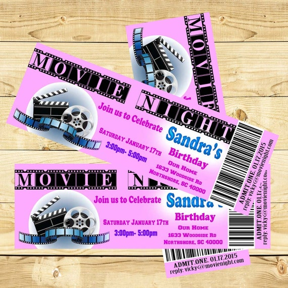 Movie Birthday Party Invitation Birthday Invitation Movie Ticket Personalized Invite Printable Party Ticket