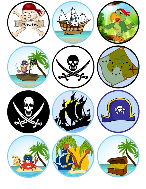Pirate Cupcake Toppers Printable Pirate Theme Instant Download Party Supply Digital File