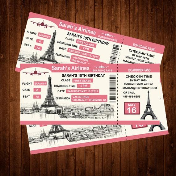 Custom boarding pass birthday invitation personalized paris etsy image 0 filmwisefo