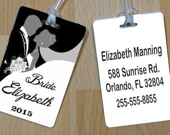 Bridal Luggage Tag, Personalized Wedding Luggage Tag, Personalized Bag Tag, Destination Wedding, Free Shipping