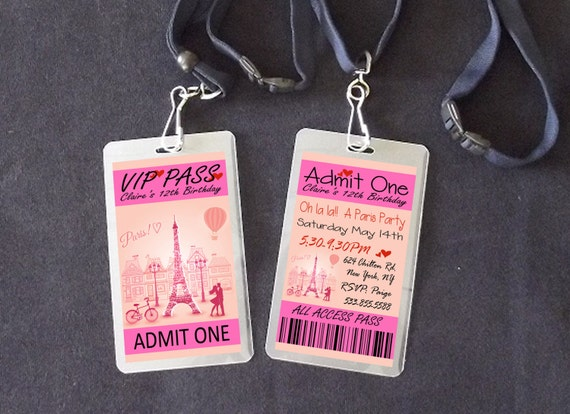 Paris vip pass lanyard birthday invitations paris vip party etsy image 0 filmwisefo