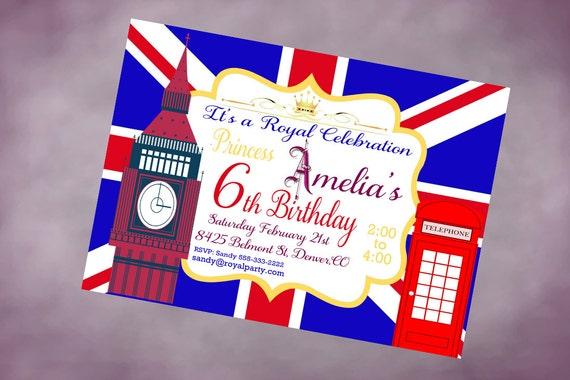 Items similar to Printable Birthday London Invitation Personalized England Birthday Invitation ...