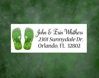 Personalized Address Labels, Flip Flop Address Labels, Custom Address Labels, Personalized Address Stickers, Mailing Labels