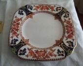 Vintage square plate Crown Douglas English Fine Bone China circa 1930s imari style ware