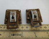 Vintage 1950s Singer croc case latches clasps fittings ex Crocodile case sewing machine fit to base