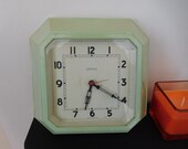 Vintage Ferranti Electric Wall Clock Art Deco period green Bakelite type plastic mains powered running 1930s