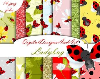 Ladybug digital paper, ladybug patterns, Bug papers, daisy paper, flower pattern, seamless pattern, planner paper, sticker, fabric design