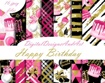 Birthday digital paper, Happy birthday pattern, Cake paper, Planner sticker paper, Celebration paper, balloon paper, presents
