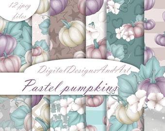 Autumn pumpkin paper, Autumn pattern, Autumn paper, Fall paper, Autumn fabric, fabric design, Commercial use, Scrapbook paper, Pastel autumn