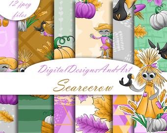 Scarecrow pattern, crow paper, Punpkun paper, autumn leaves paper, Autumn paper, fabric design, Commercial use, Scrapbook paper