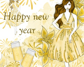 new years party clipart fashion clipart gold glitter champagne planner fashion illustration stickers clipart blog graphics party girl