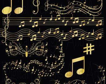 Gold Music clipart, Gold notes clip art, Digital Clipart Musical,Invitation Clipart Design Elements, gold clipart