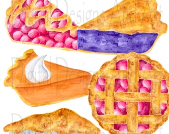 Watercolor pie clipart, Pies clipart, Watercolor clipart, Cherry pie illustration, Food clipart, Watercolor food art, Food illustrations