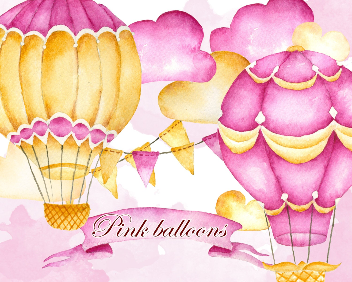 Hot air balloons clipart Airballoons clipart Watercolor | Etsy