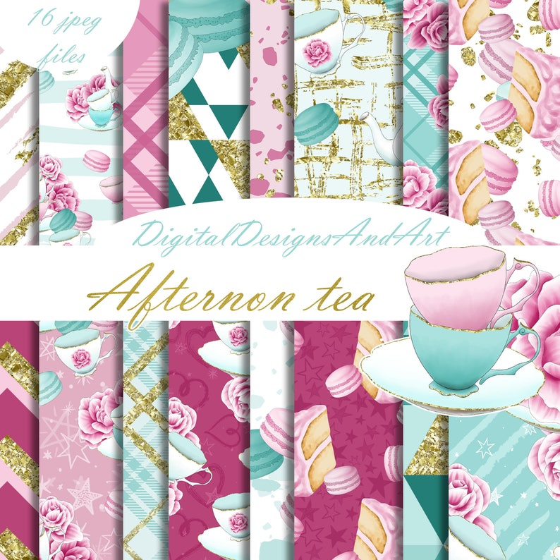 graphic relating to Planner Supplies named Tea electronic paper, sbook paper, planner materials, sticker materials, tea habit, seamless routine, macaroon paper, cake paper, tea get together
