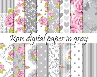 Gray rose digital paper, Rose digital paper, Floral digital paper, Scrapbook paper, Flower digital paper, Gray digital paper Rose background