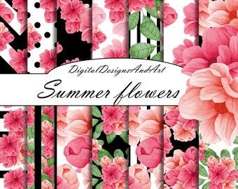 Pink flower digital paper, Pink and black digital paper, Floral seamless patterns, Watercolor flower background, Digital background