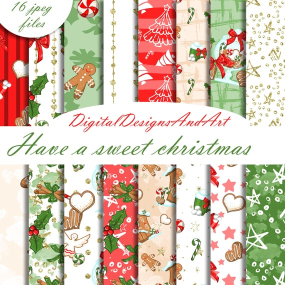 Christmas Sweets.Christmas Digital Paper Christmas Sweets Paper Christmas Paper Christmas Pattern Planner Sticker Supplies Scrapbook Paper Xmas Paper