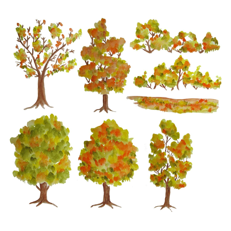 Wedding Tree Watercolor Clipart: Watercolor Tree Clipart Autumn Trees Clipart Wood Clipart